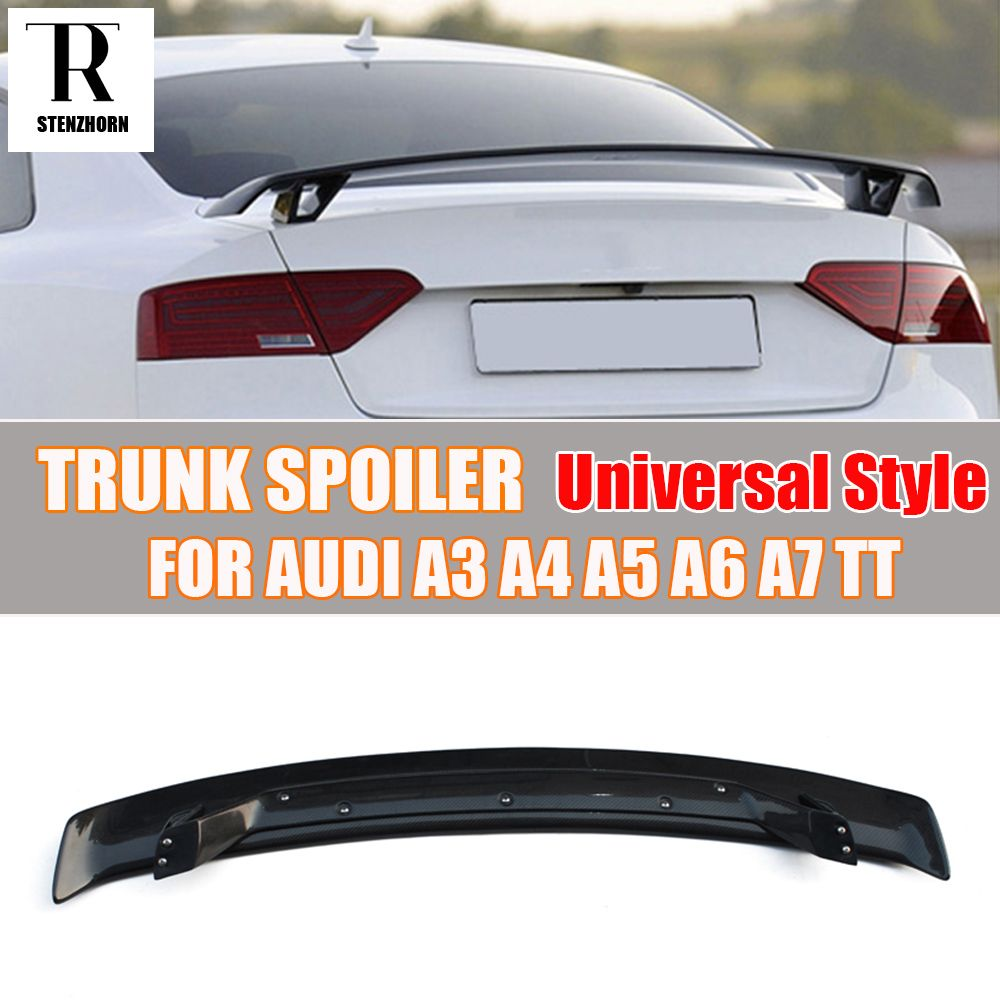Carbon Fiber Universal Style Rear Trunk Wing Spoiler for Audi A3 S3 A4 A5 A6 A7 TT Tail Boot Lip Wing Spoiler