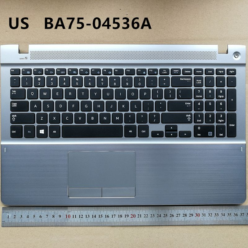 US new laptop keyboard with touchpad palmrest for Samsung 450R5V 370R5E 450R5E 510R5E 470R5E BA75-04536A
