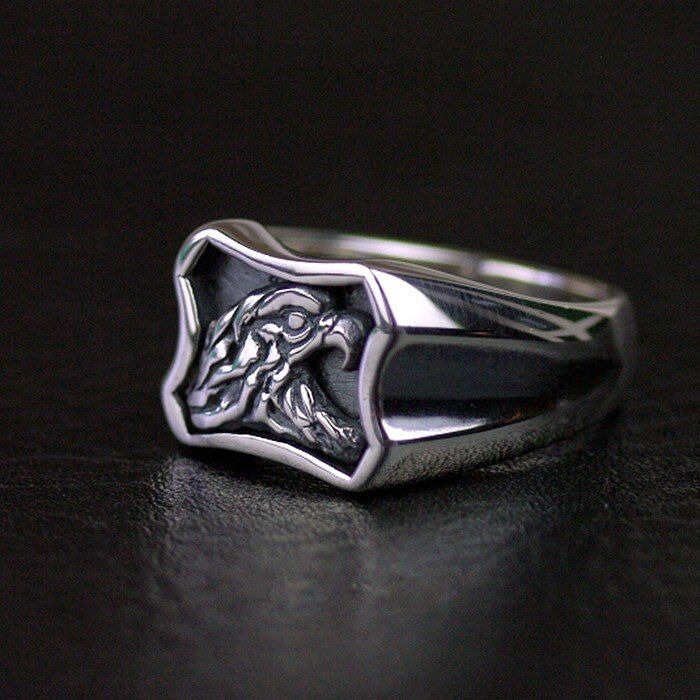 925 sterling silver eagle head portrait Thai silver ring