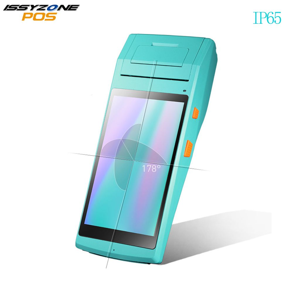 ISSYZONEPOS Android Mobile POS Terminal 3G 4G Handheld PDA Bluetooth WIFI 1D 2D Barcode Scanner with 58mm Thermal Printer IP65