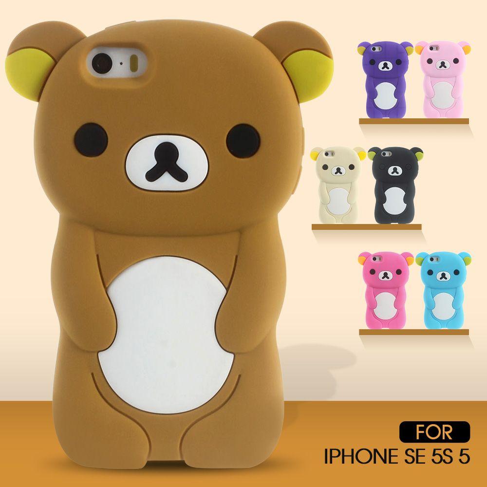 Dulcii Cas Pour l'iphone SE Mignon 3D Rilakkuma Silicone Couverture pour iPhone 5S 5 Fundas Coque Capas Ours