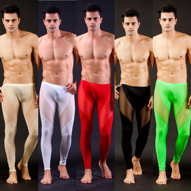 La alta calidad de hombre Sexy malla transparente salón pantalones pantalones Sexy pantalones largos medias de malla transparente Leggings fresco Male Gay