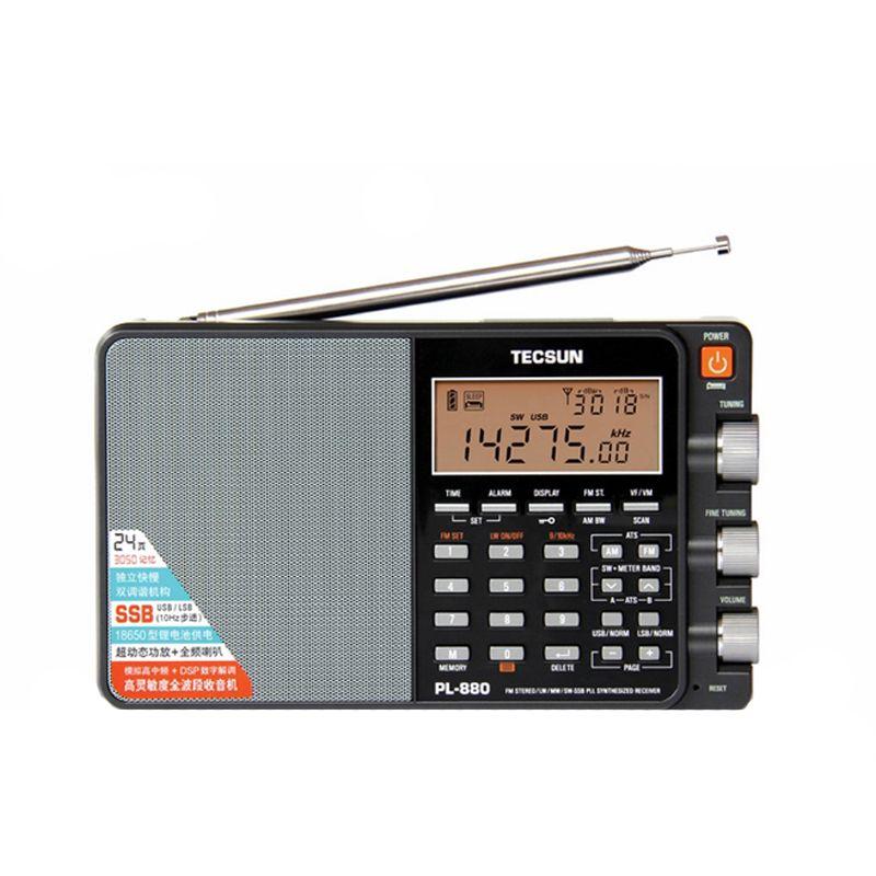 TECSUN PL-880 Portable Stéréo Pleine Bande Radio avec LW/SW/MW SSB PLL Modes FM (64-108 mHz)