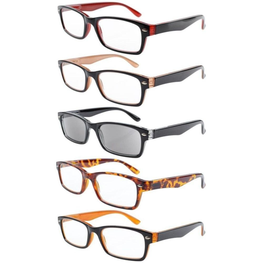 5-pack Spring Hinges Plastic Reading Glasses Includes Sun Readers +0.00---+4.00 VS01-10