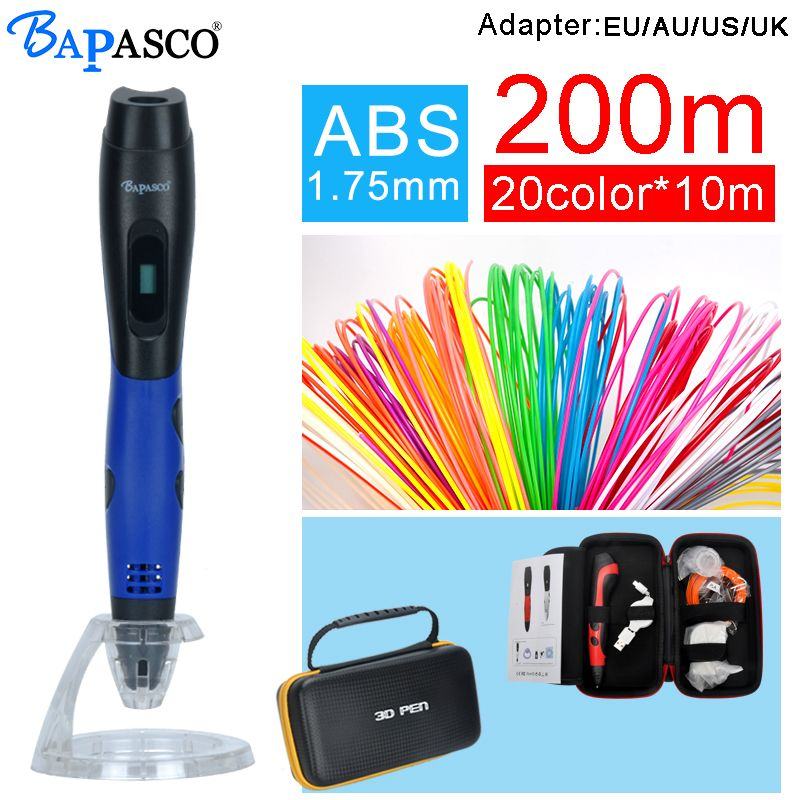 bapasco 3D pen with 100meter 20colors abs filament oled display 5V 2A USB adapter kids diy drawing pens 3D printing best gift