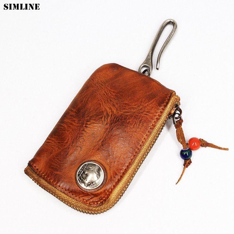 2019 en cuir véritable porte-clés hommes hommes court Vintage à la main Zipper voiture porte-clés porte-monnaie carte Case organisateur femme de ménage