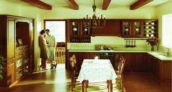 Деревянный высокий кухня, шкафы для хранения (LH-SW054)