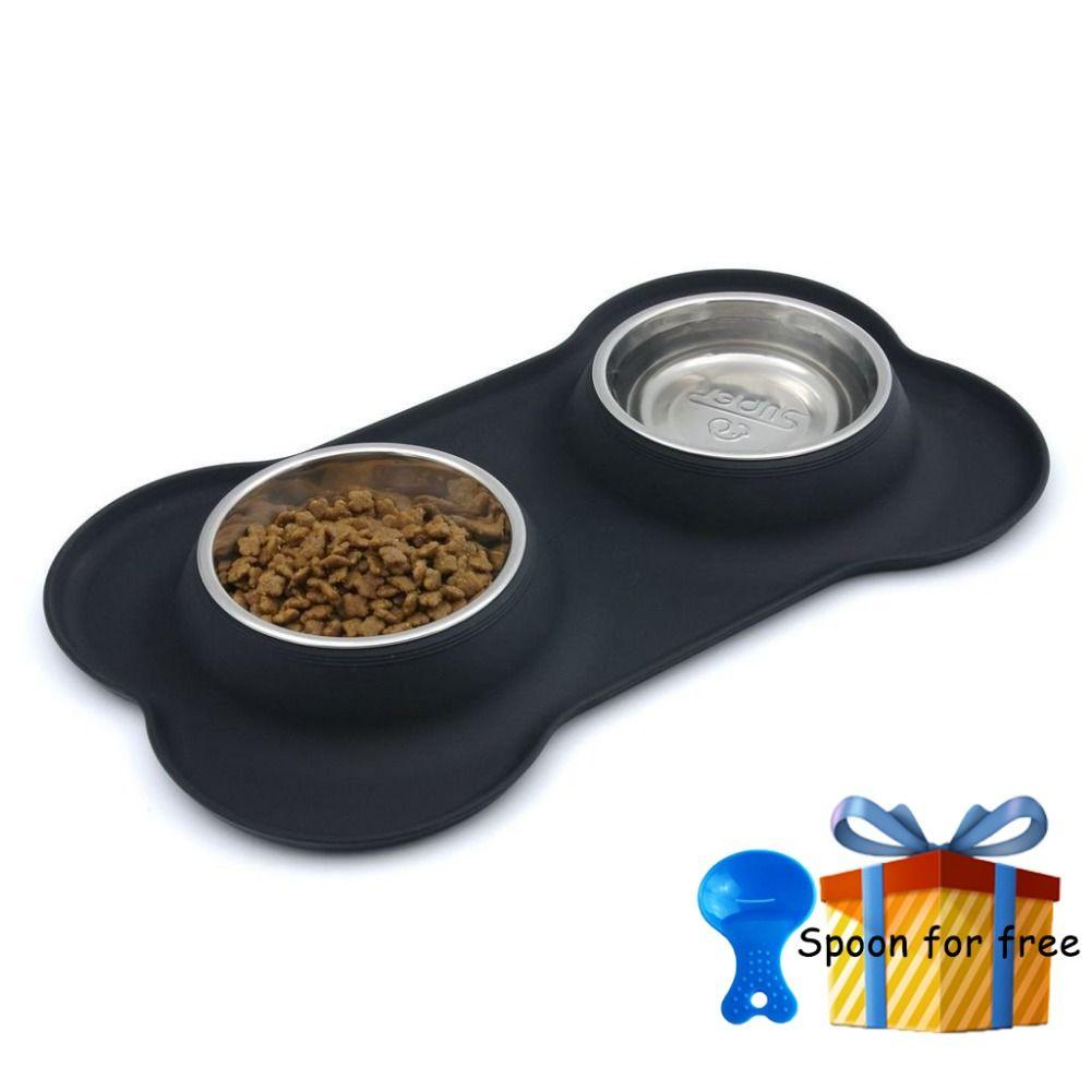 Superdesign Новый Сталь чаша собака с не разлей Нескользящие силиконовые Коврики подачи инструмент Pet Supplie нержавеющей Сталь Cat двойной миски для ...