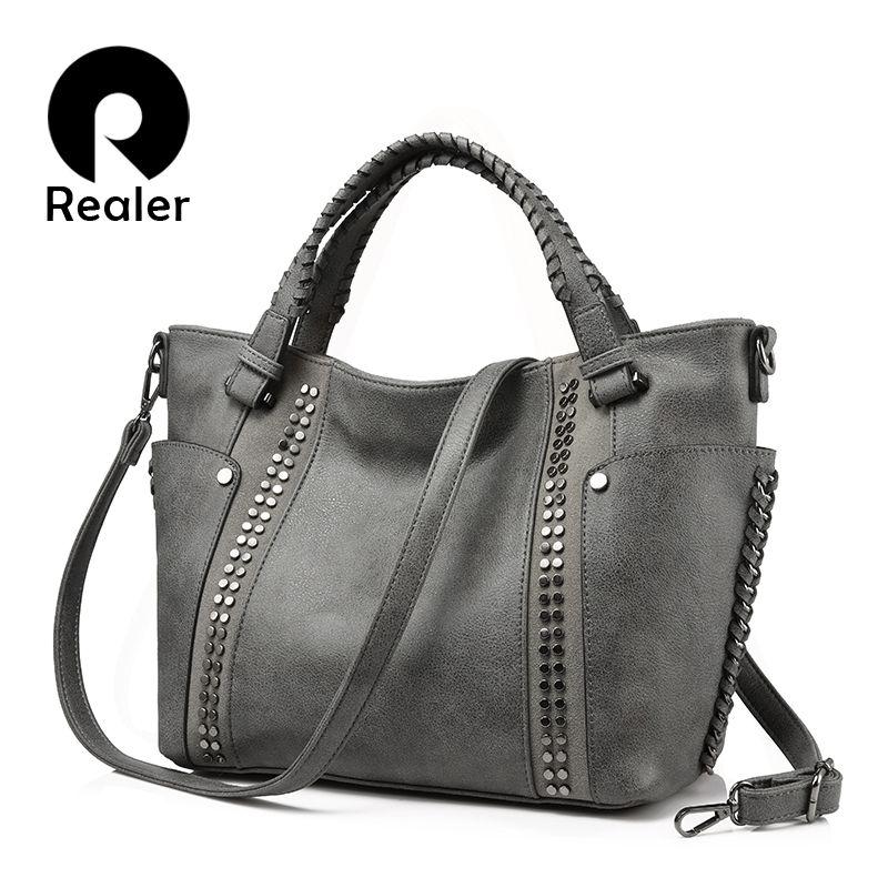 REALER women handbag female artificial leather top-handle tote bag ladies shoulder crossbody bag large messenger bag with rivets
