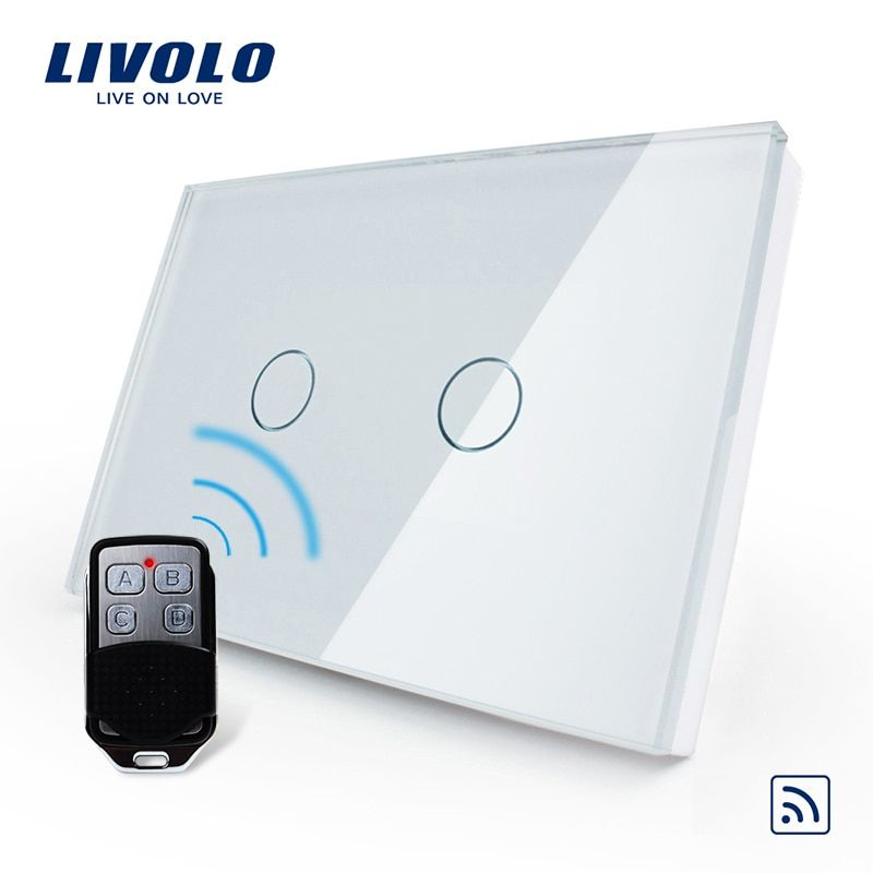 Livolo US/AU Standard Smart Switch, White glass panel , Waterproof Glass 2 Gang 1 Way Switch&Mini Remote, VL-C302R-81VL-RMT-02