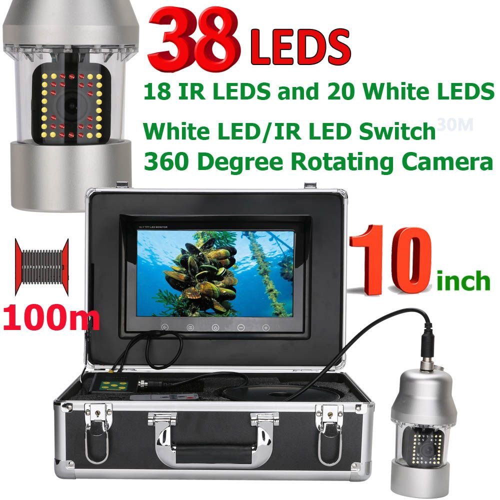 MAOTEWANG 10 Inch 50m 100m Underwater Fishing Video Camera Fish Finder IP68 Waterproof 38 LEDs 360 Degree Rotating Camera