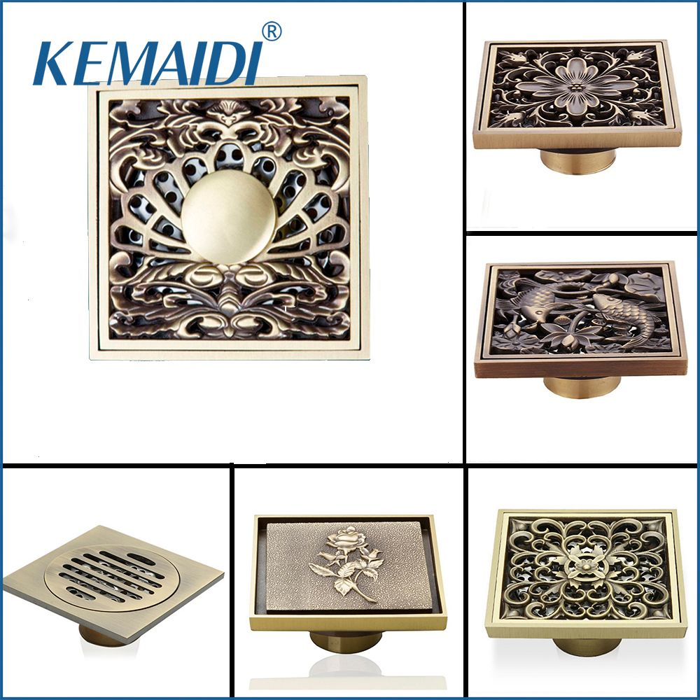 KEMAIDI Antique Brass Household Art Carved Flower Floor Drain Bathroom Shower Square Drain Strainer Wholesale & Retail