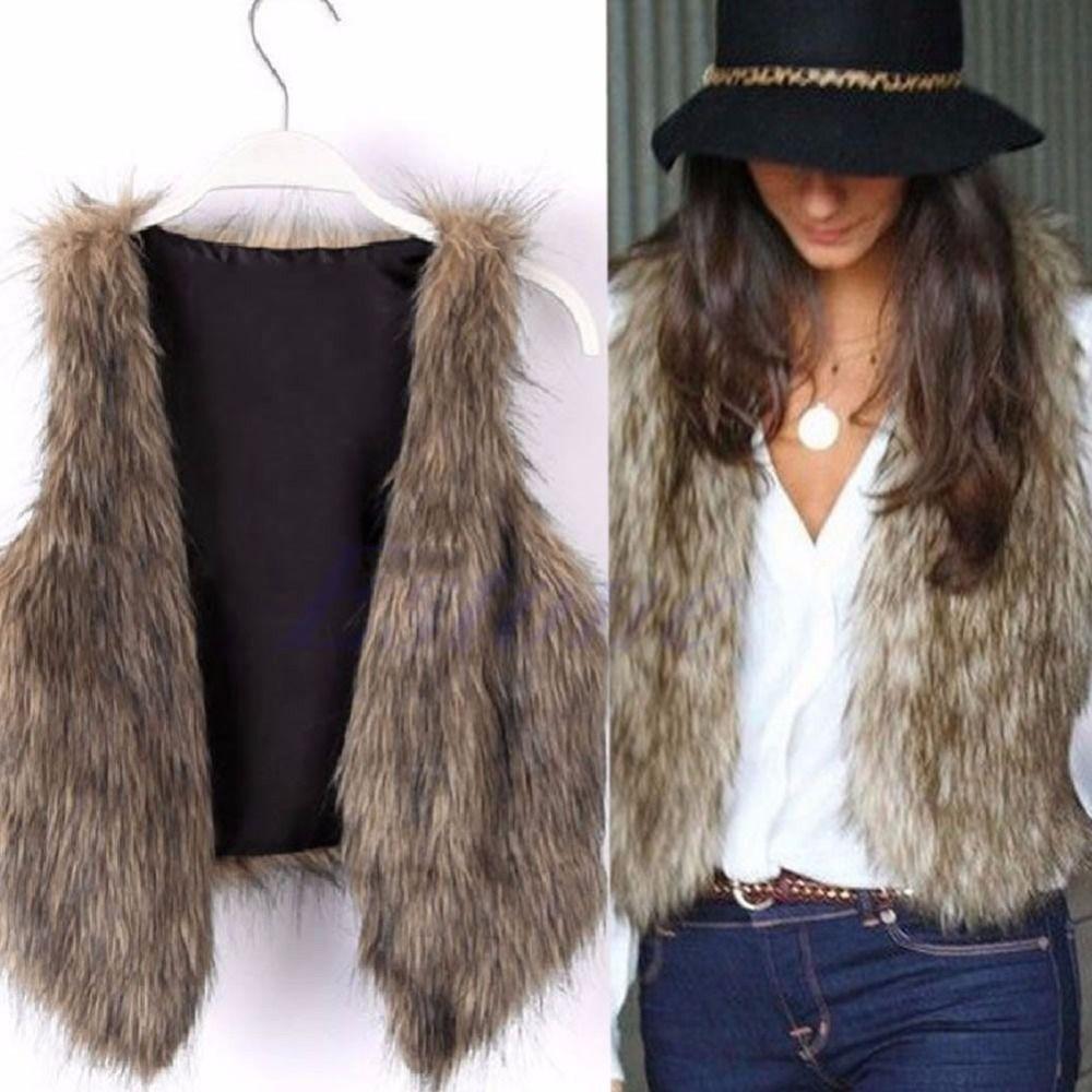 Womens Faux Fur Waistcoat Gilet Jacket Coat Sleeveless Outwear Winter Short Vest