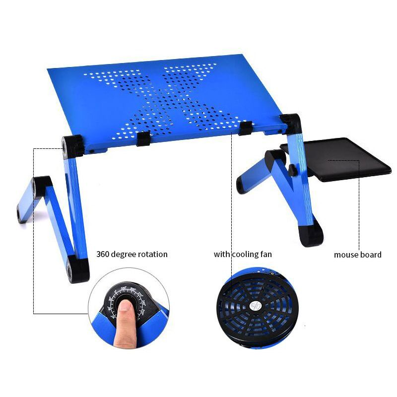 Aluminum Alloy Laptop Table Adjustable Portable Folding Computer <font><b>Desk</b></font> Students Dormitory Laptop Table Stand Tray For Sofa Bed