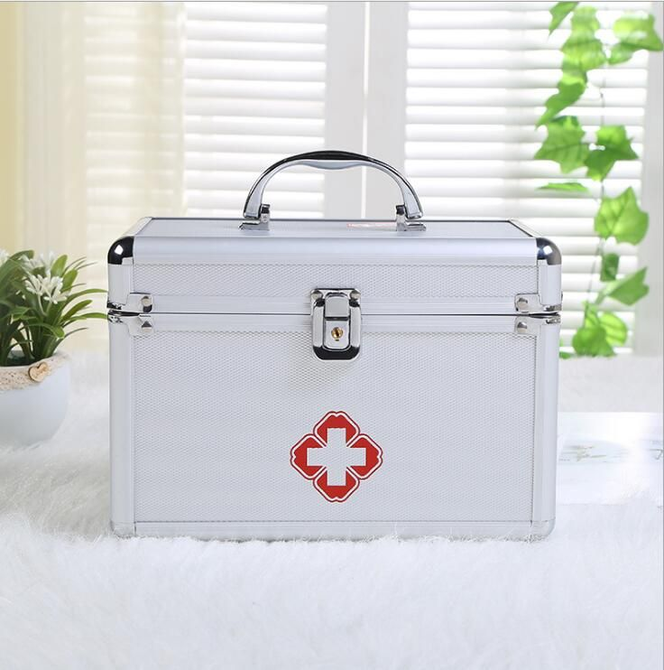 Aluminum alloy medical box -VS-- portable double-layer portable first-aid kit for customized <font><b>medicine</b></font> box