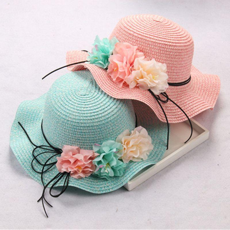 Bebé Sol sombrero ala ancha flores bowknot del sombrero de playa sombrero de paja sombrero de paternidad Niñas Panamá gorras