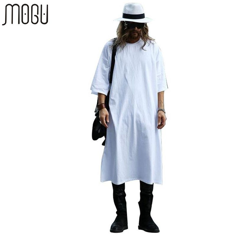MOGU Extra Long T-shirts Pour Hommes O-cou Extra Long Ligne Tops T-shirts Solide Blanc Couleur T-shirt Hommes Grande Taille Hommes T chemises
