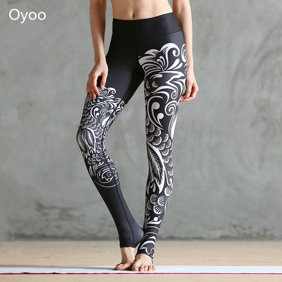 Oyoo Black Phoenix Paper Cut Printed Yoga Leggings Women's Workout Elastic Running Gym Fitness Pants Sexy Sport Tights