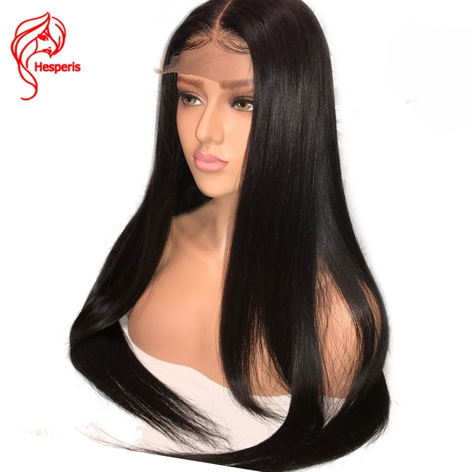 Hesperis Full Lace Human Hair Wigs For Women Black Pre Plucked Indian Remy Straight Glueless Full Lace Wig With Baby Hair