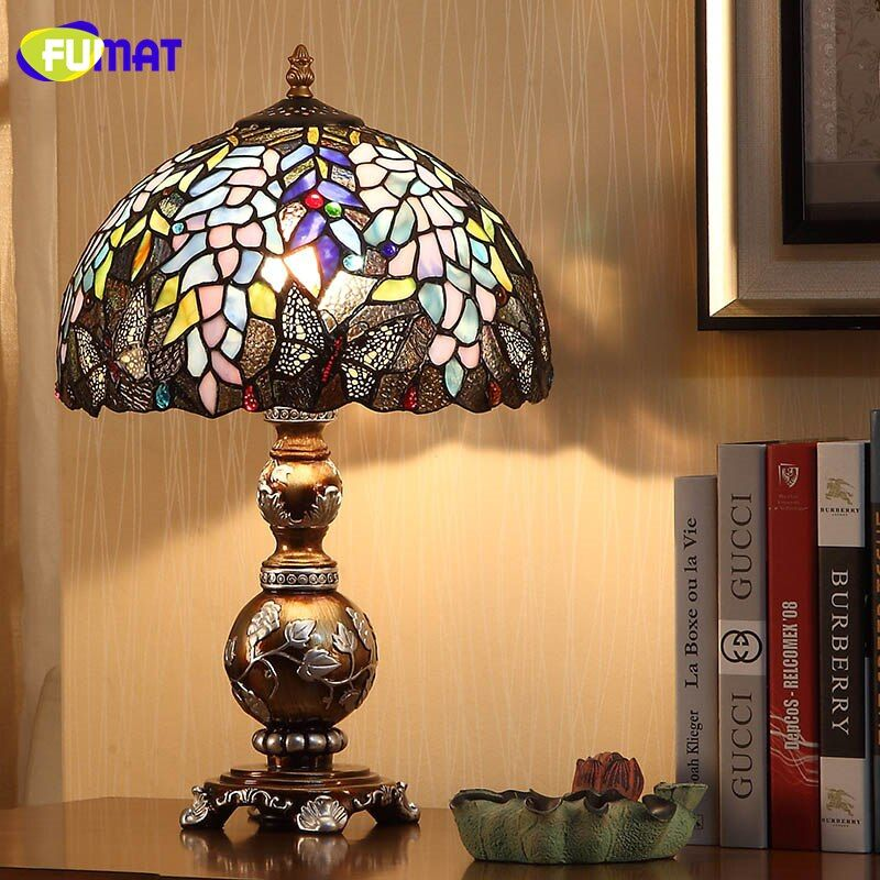 FUMAT European Creative Table Lamps Light Stained Glass Wisteria Glass Shade Table Lights For Living Room Bedside Art Table Lamp