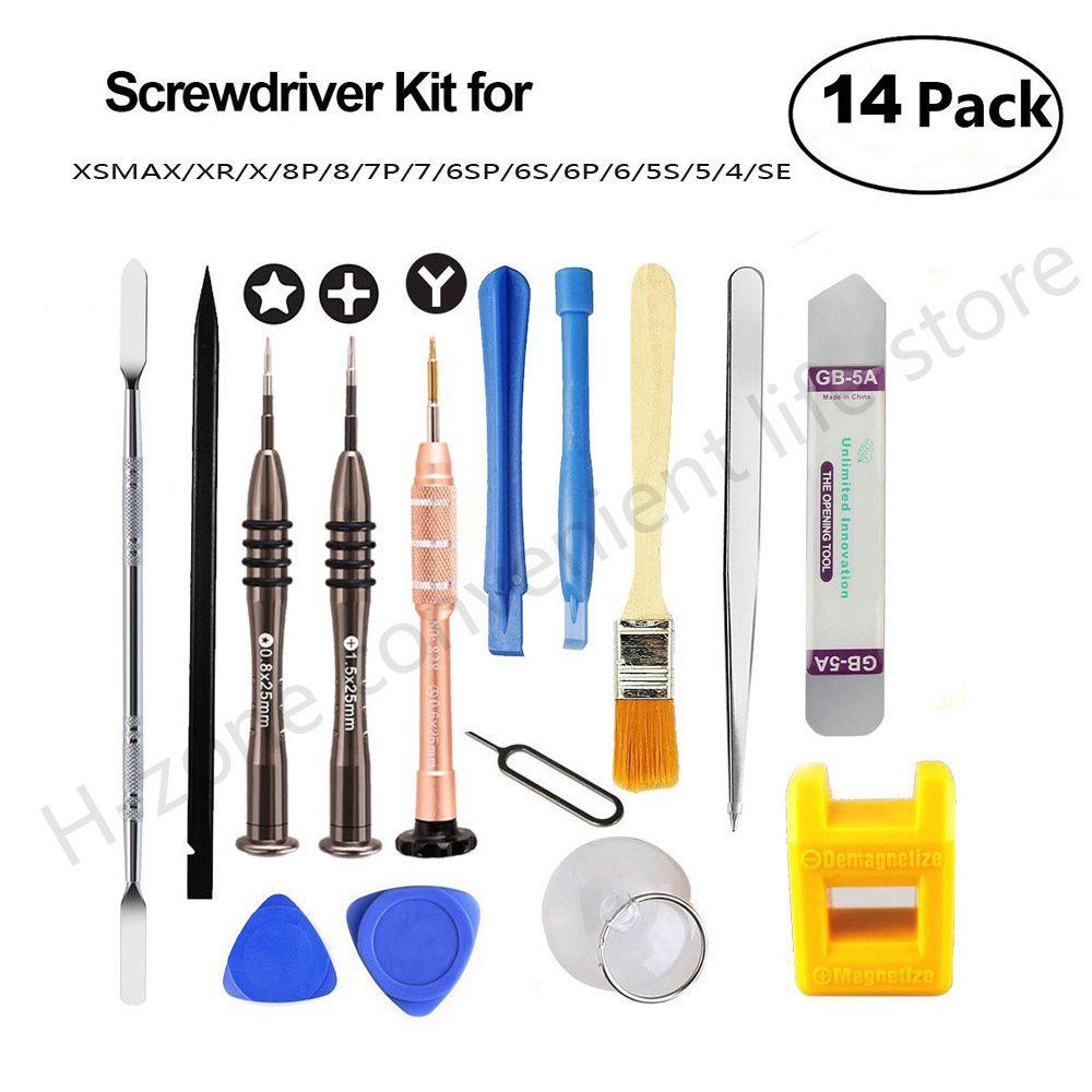 Date 14in1 Kit d'outils de réparation de téléphone portable outil ouvert jeu de tournevis pour iphone X 8 8 p 7 6 S 6 Samsung IPad outils de téléphone ensemble