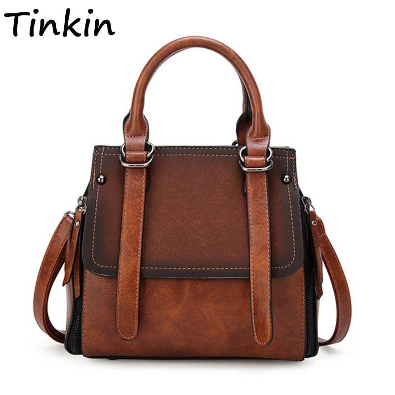 Tinkin PU leather women handbag vintage tote bag panelled stone women shoulder bag messenger bag