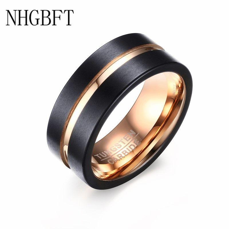 NHGBFT Mode Noir et or rose anneau en acier et tungstène Bandes De Mariage 8 MM De Tungstène anneaux en carbure pour bijoux pour hommes livraison directe