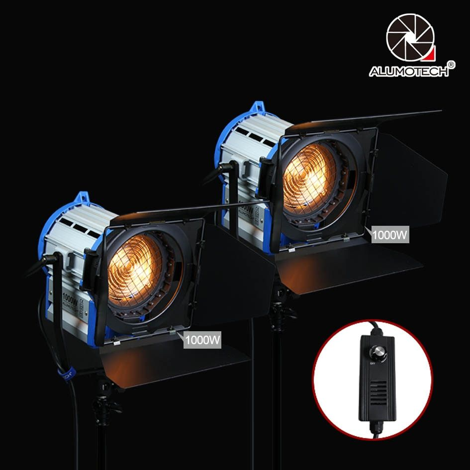 ALUMOTECH Pro As ARRI 2PCS 1000W Dimmer Built-in Fresnel Tungsten Spot light camera vedio