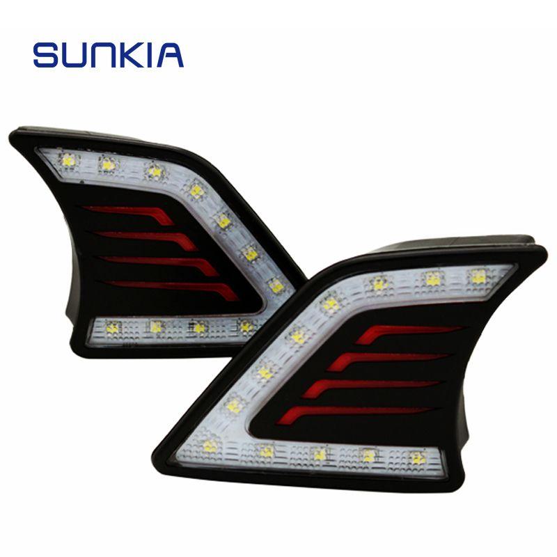 SUNKIA 2 pièces/ensemble voiture style LED DRL feux de jour Super lumineux antibrouillard pour Toyota Hilux Vigo 2012 2013 2014