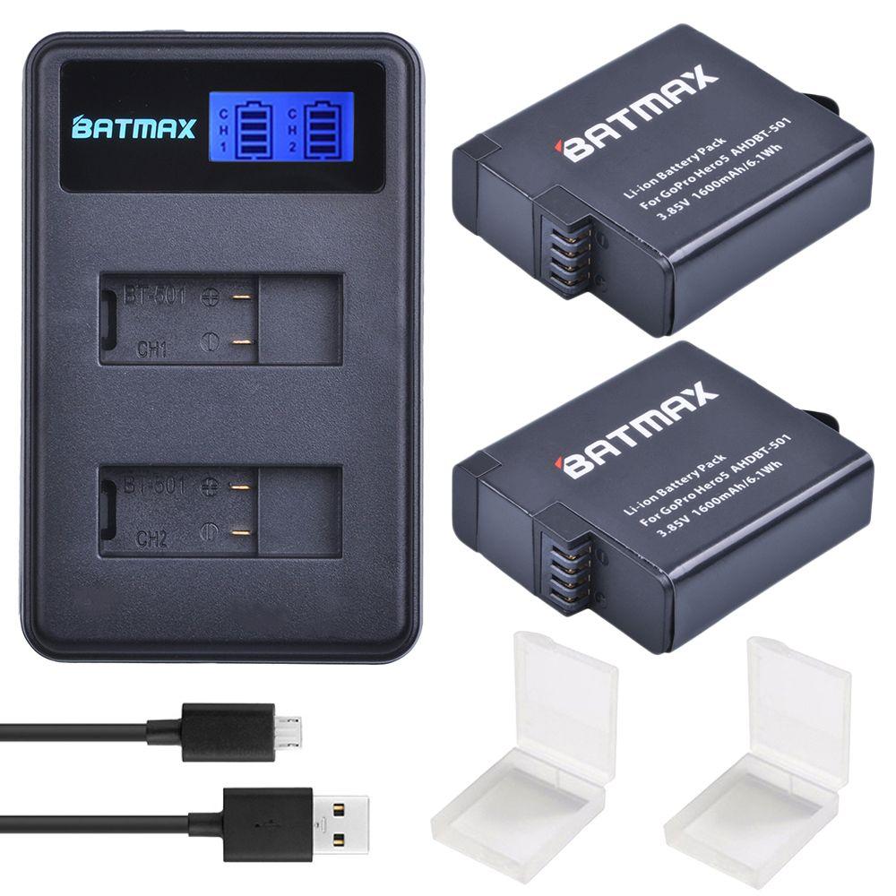 For 2Pcs 1600mAh GoPro Hero 5 GoPro Hero 6 Battery Batterie + LCD Dual USB Charger For GoPro Hero5 6 Black Camera Gopro 2018