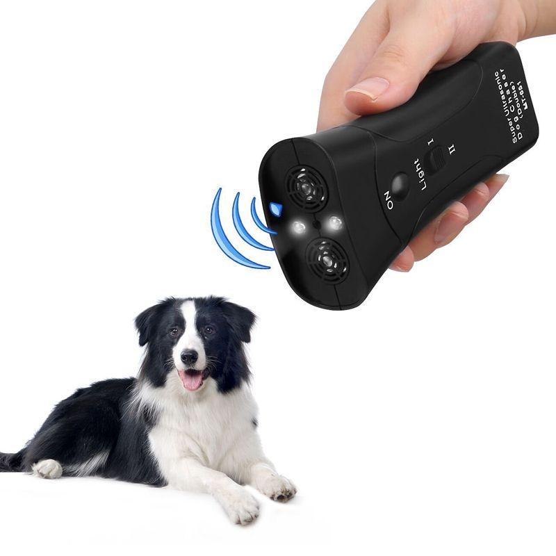 New Ultrasonic Dog Chaser Aggressive Attack Repeller Trainer LED Flashlight training Repeller Control Anti Bark Barking