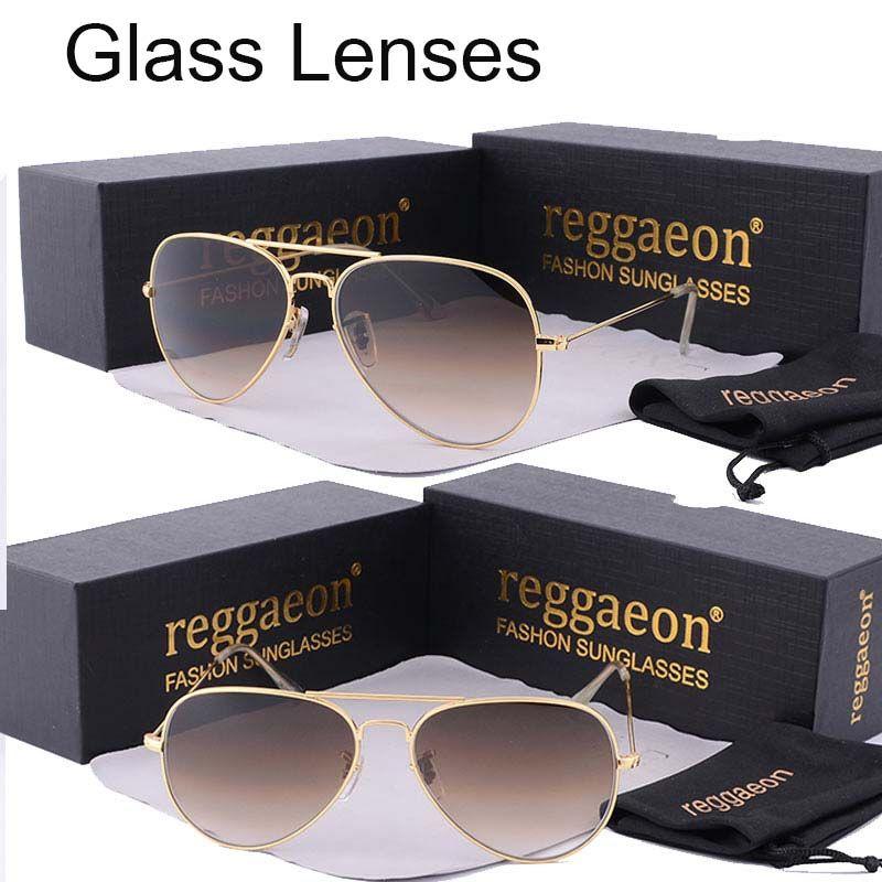 Reggaeon luxe verre lentille lunettes de soleil femmes 2019 haute qualité uv400 hommes marque Designer plage boîte rayons pilote lunettes de soleil G15