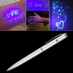 Креативный магический Светодиодный УФ фонарь шариковая ручка с невидимыми чернилами секретная шпионская ручка новинка товар для подарков ...