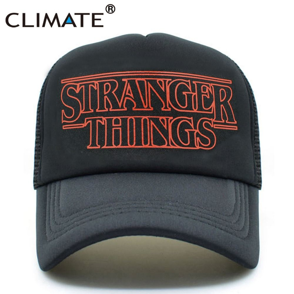 CLIMATE Men Women Summer Cool Caps Hats Stranger Things Youth  Black Mesh Caps Mesh Trucker Adjustable Summer Cool Net Mesh Hats