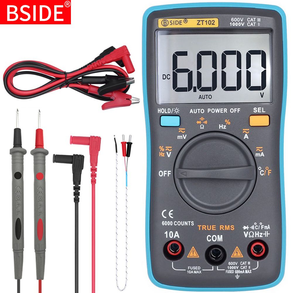 Multimètre numérique BSIDE ZT101 ZT102 véritable gamme automatique RMS Multimetro voltmètre ampèremètre capacité température Ohm HZ NCV testeur