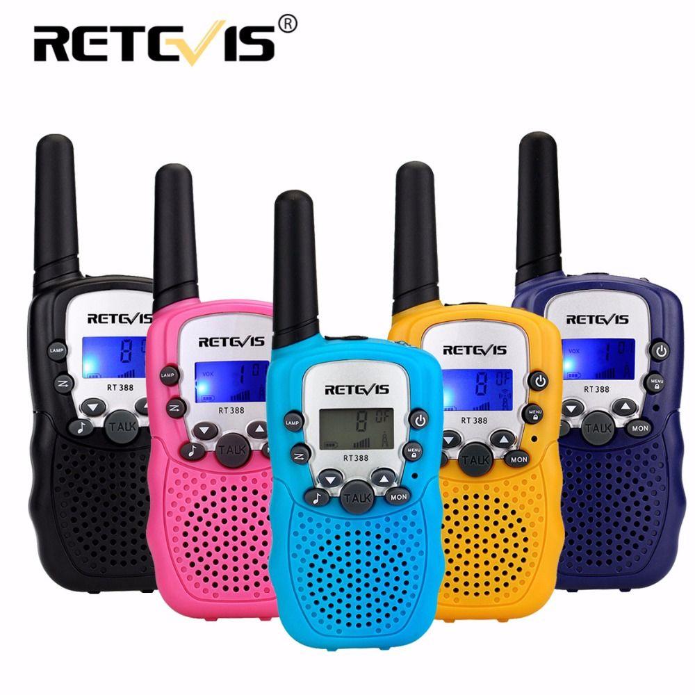 2pcs Mini Two Way Radio Retevis RT388 Children Toy Walkie Talkie UHF PMR446 LCD Display Flashlight VOX Handy Ham Radio Kids Gift