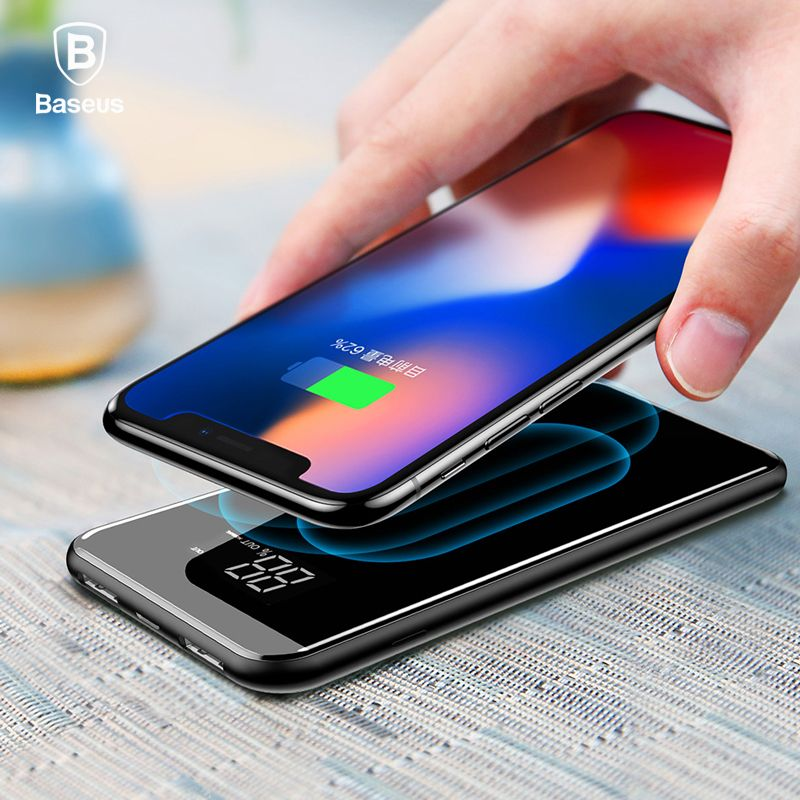 Baseus LCD 8000mAh QI Wireless Charger 2A Dual USB <font><b>Power</b></font> Bank For iPhone X 8 Samsung S9 Battery Charger 5W Wireless Charging Pad
