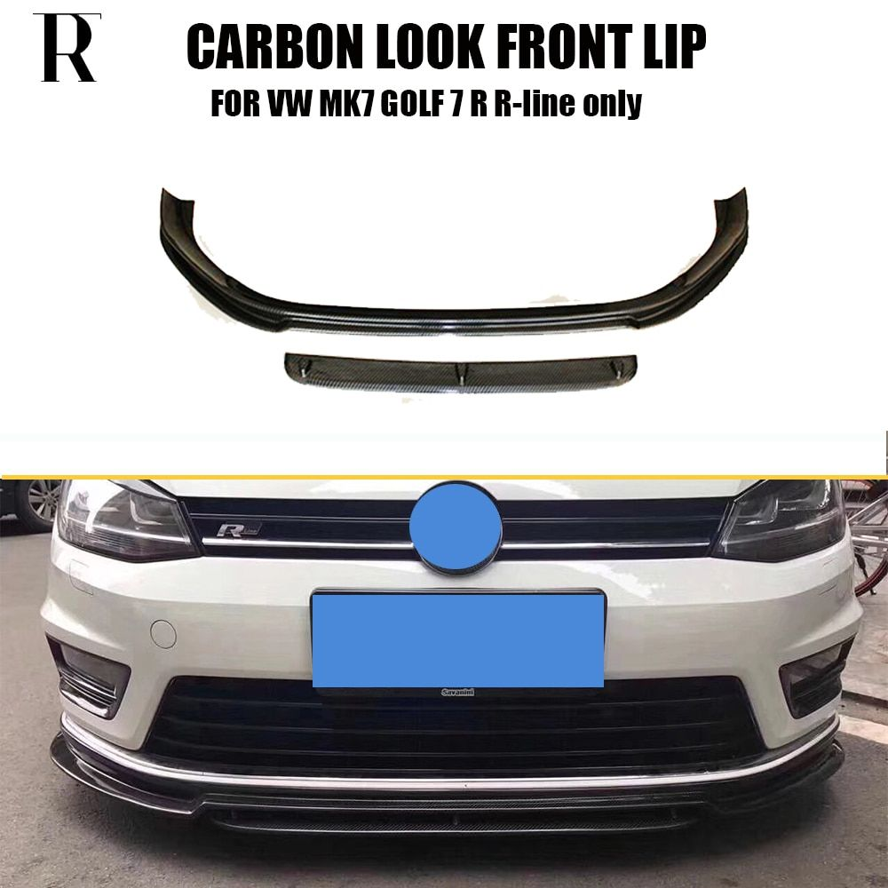 MK7 Carbon Fiber Look Front Bumper Lip Spoiler for VW MK7 Golf 7 R & R-line 2014 - 2017 ( Can't Fit Golf 7 Standard & GTI )