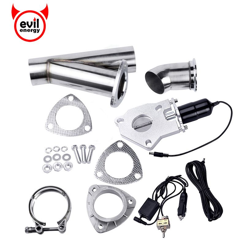 evil energy 2.25 Inch System Remote Exhaust Catback Downpipe Cutout E Cut Valve Out  Muffler Bypass With Manual Switch