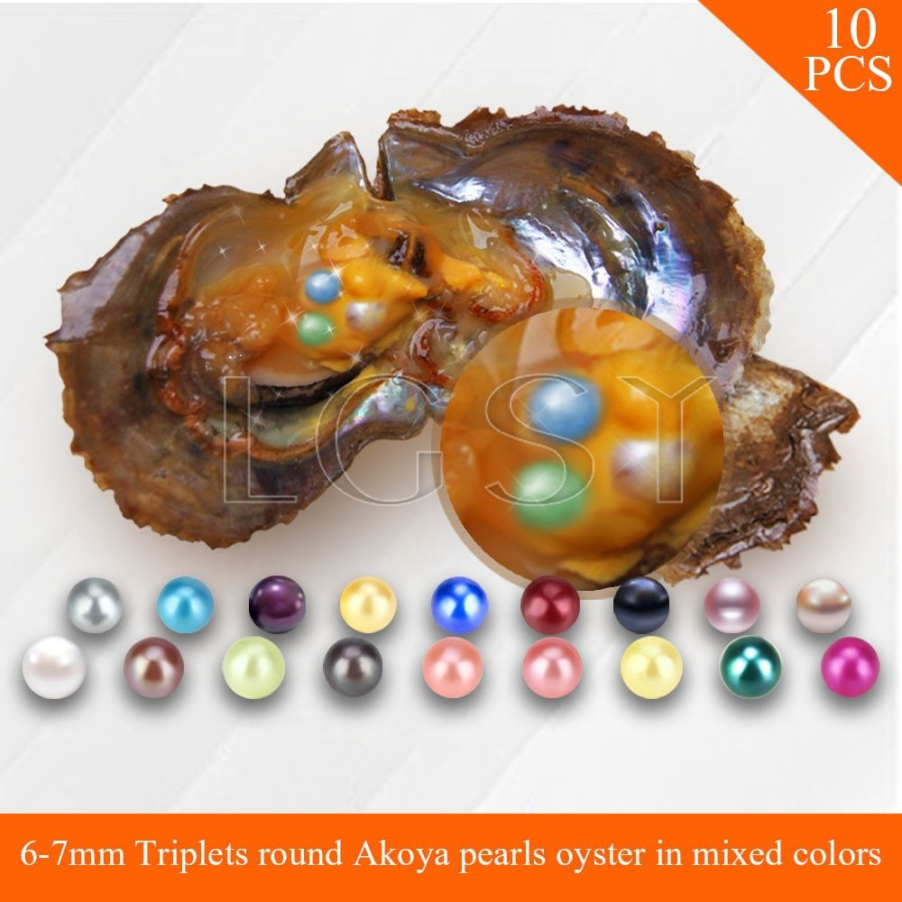 Bead mixed colors Triplets 6-7mm round Akoya pearls in oysters with vacuum package for women jewelry 10pcs
