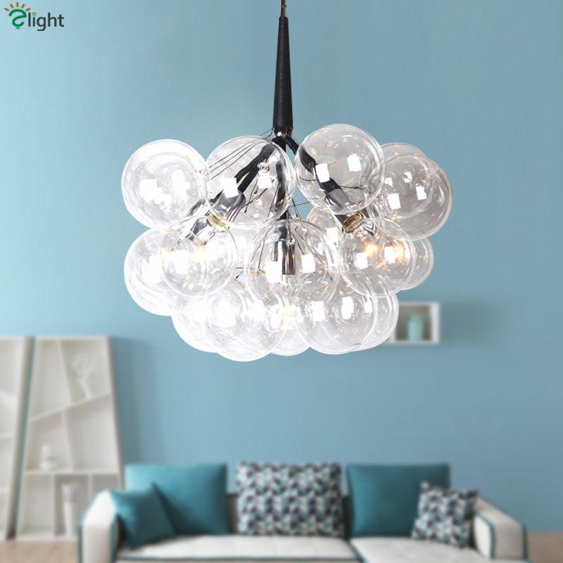 Amerikanischen Pelle Klarglas Globen E27 Led Kronleuchter Lamparas Leuchten Nordic Minimalismus Glanz Anhänger Kronleuchter Beleuchtung