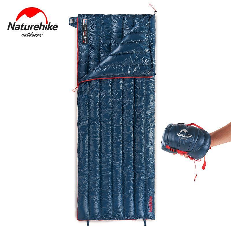 Naturehike Ultra Licht Mini Camping Gans Unten Platz Schlafsäcke Winter Kälte Splicing Einzel Umschlag Schlafsack