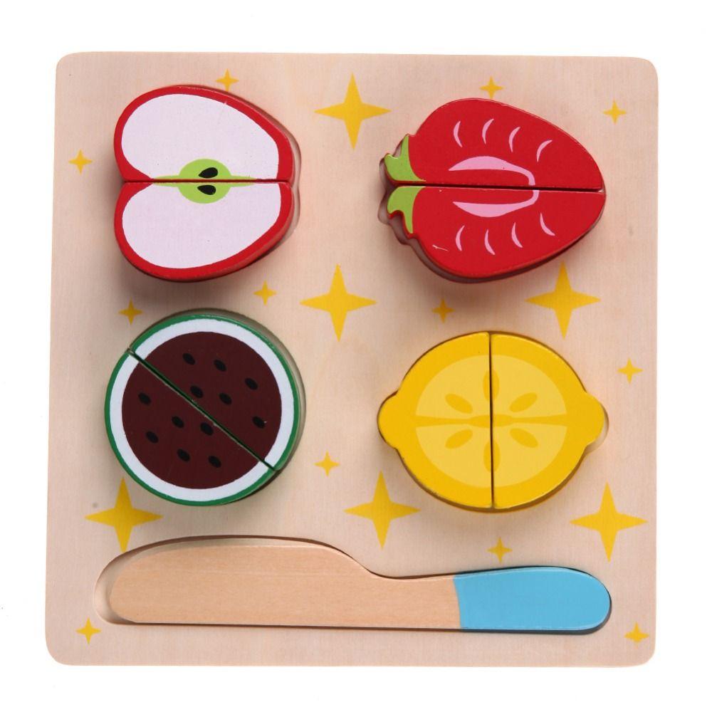 DIY Juguete De Madera de Cocina Frutas Verduras Cortadas Postre Niños Cocina Comida Juego de Imaginación Juguete Del Rompecabezas Juguetes Educativos