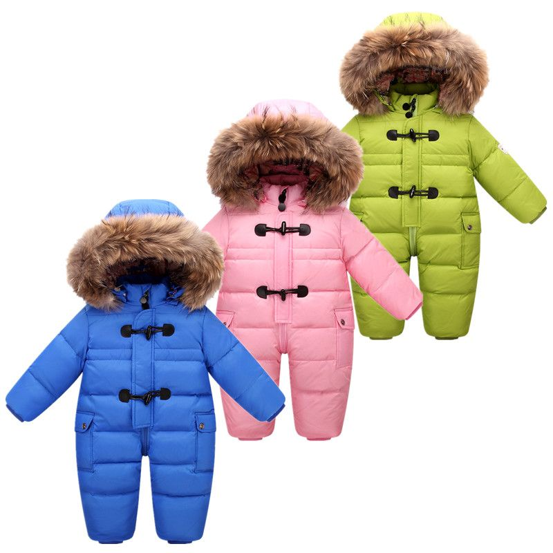 2018 NEW style Russian winter baby snowsuit 90% duck down jacket for girls coats warm Park for infant boy snow wear jumpsuit
