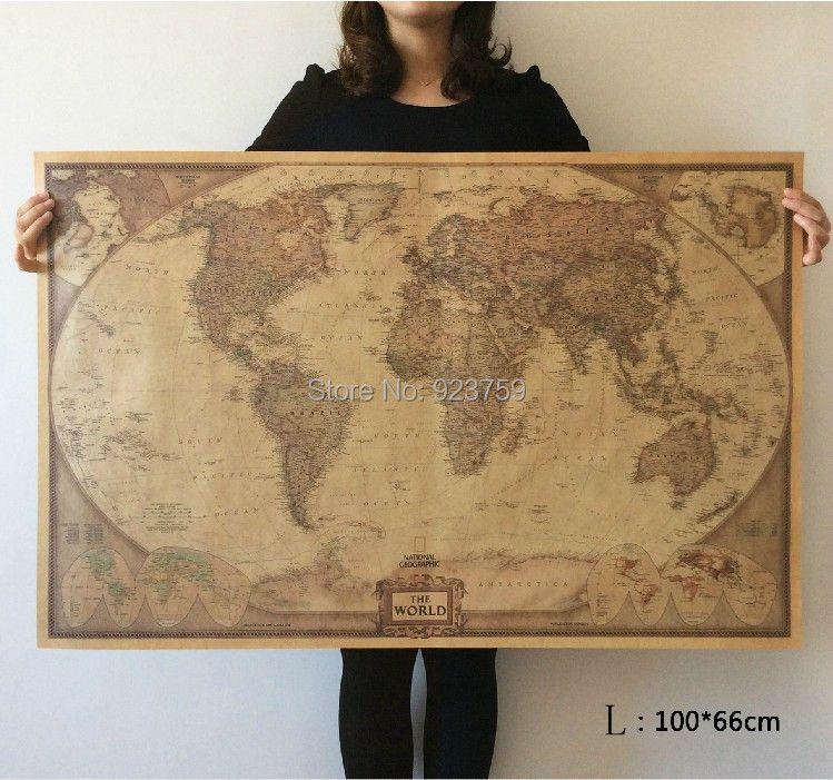 Wählen größe: Die Weltkarte Große Vintage Style Retro Papier Poster ausgangswand-dekoration
