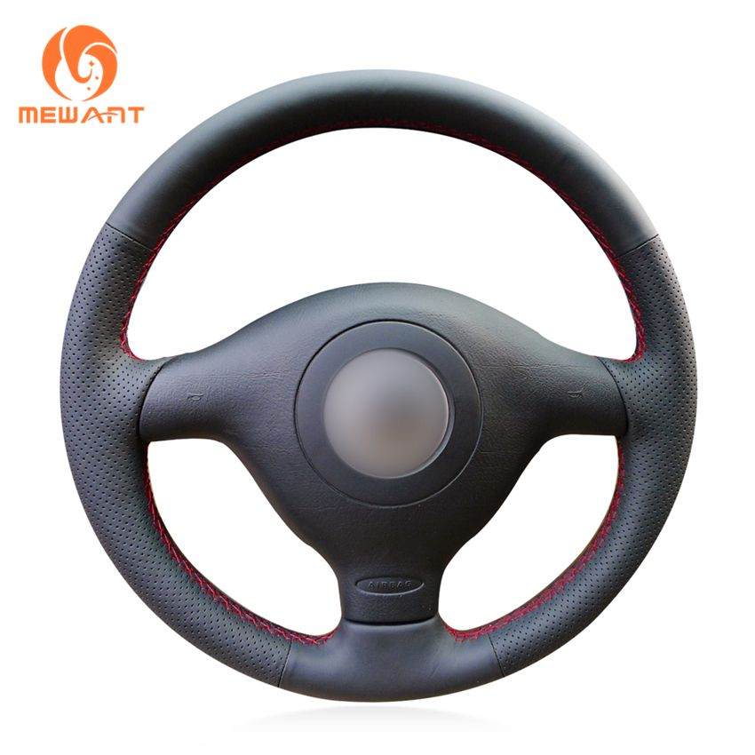 Black Artificial Leather Steering Wheel Cover for Volkswagen VW <font><b>Golf</b></font> 4 Passat B5 1996-2003 Polo 1999-2002 Seat Leon 1999-2004