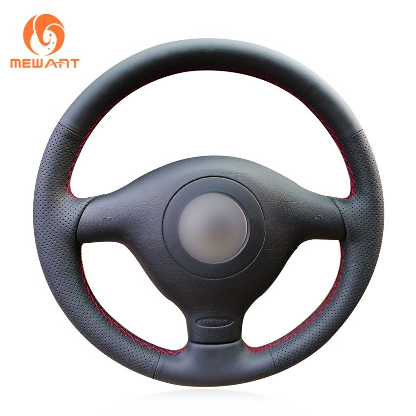 Black Artificial Leather Steering Wheel Cover for Volkswagen VW Golf 4 Passat B5 1996-2003 Polo 1999-2002 Seat Leon 1999-2004