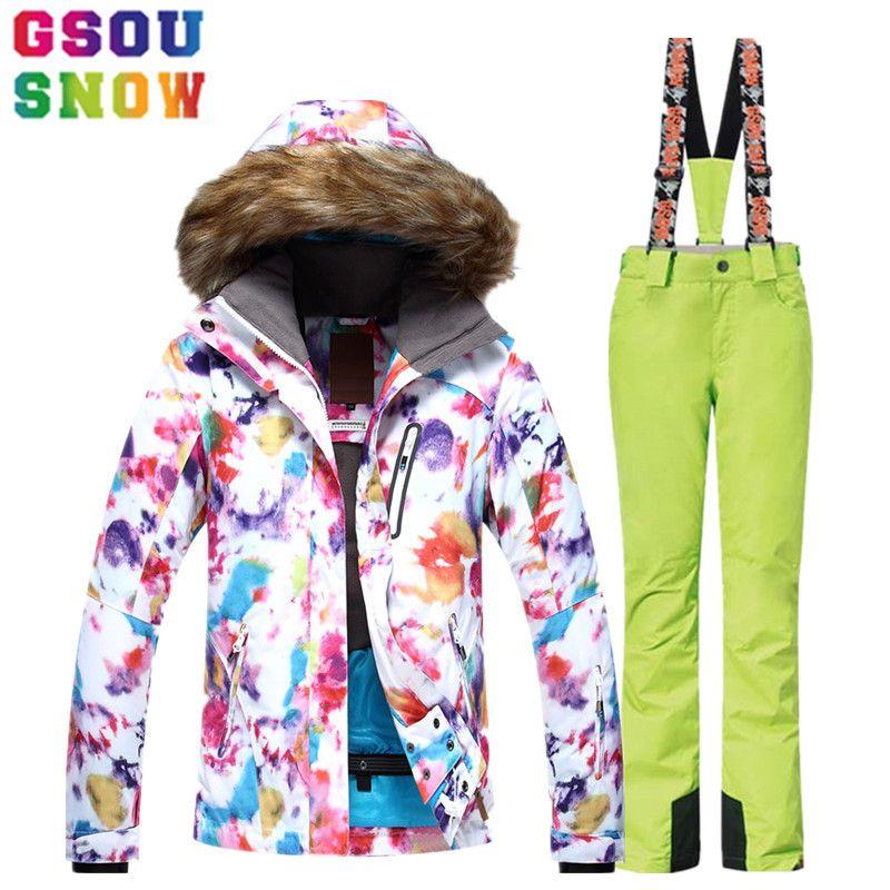 GSOU SCHNEE Skianzug Frauen Skijacke Hosen Wasserdicht Atmungsaktiv Snowboard Jacke Hosen Winter Außen Günstige Ski-kleidung 2017