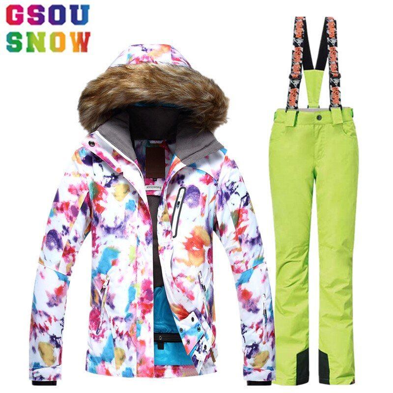 GSOU SNOW Ski Suit Women Ski Jacket Pants Waterproof Breathable Snowboard Jacket Pants Winter Outdoor Cheap Skiing Clothing 2017