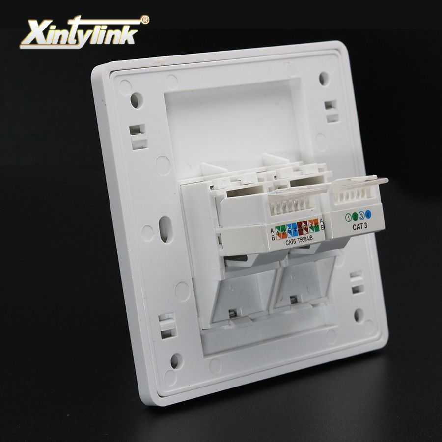 xintylink rj11 rj45 Socket jack modular cat5e cat6 2 Ports Keystone Wall Faceplate toolless telephone wall socket panel 86mm